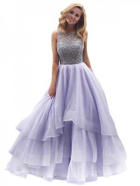 Ball Gown Sleeveless Scoop Floor-Length Beading Organza Dresses