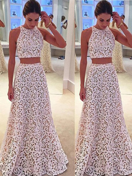 A-Line/Princess Scoop Sleeveless Floor-Length Lace Lace Dresses