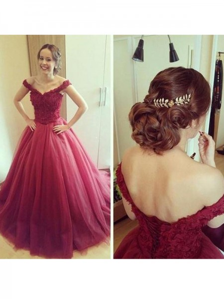 Ball Gown Sleeveless Off-the-Shoulder Floor-Length Applique Tulle Dresses