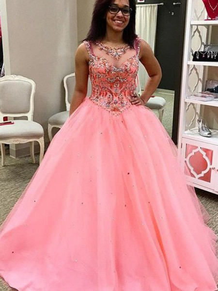 Ball Gown Sweetheart Sleeveless Floor-Length Beading Tulle Dresses