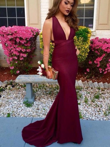 Trumpet/Mermaid Sleeveless V-neck Sweep/Brush Train Satin Dresses