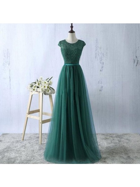 A-Line/Princess Sleeveless Scoop Floor-Length Tulle Dresses