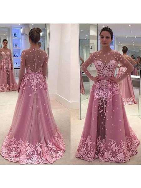 A-Line/Princess Scoop Long Sleeves Floor-Length Applique Tulle Dresses