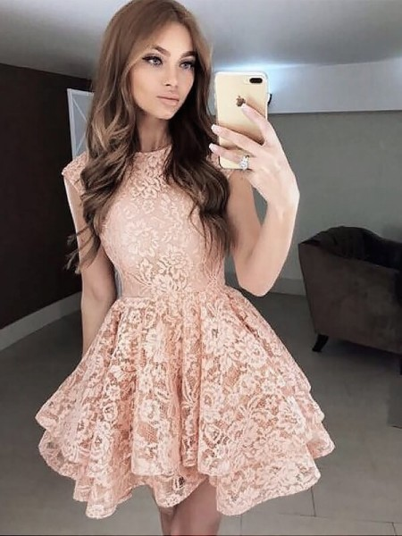 A-Line/Princess Sleeveless Scoop Short/Mini Lace Dresses