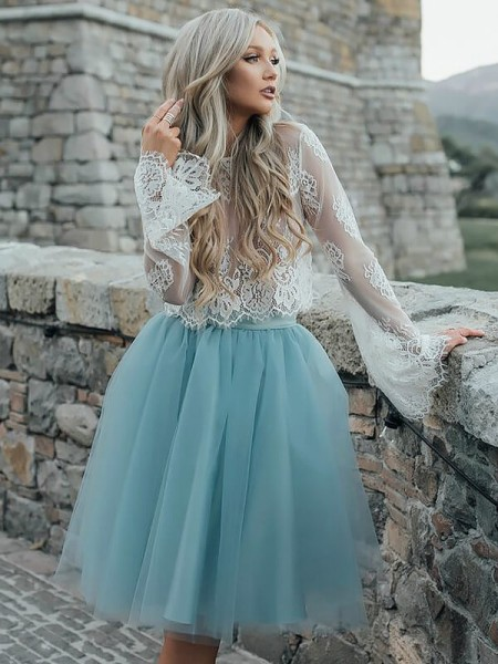 A-Line/Princess Long Sleeves Scoop Short/Mini Tulle Dresses
