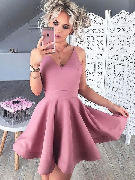 A-Line/Princess Sleeveless V-neck Short/Mini Satin Dresses