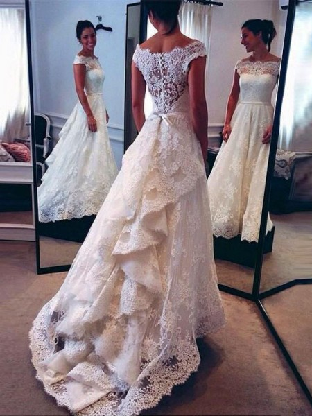 A-Line/Princess Scoop Lace Court Train Sleeveless Wedding Dresses