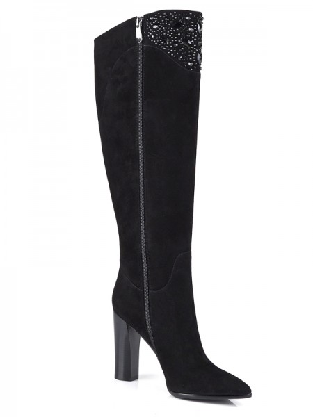 Women's Suede Chunky Heel Closed Toe With Rhinestone Knee High Black Boots