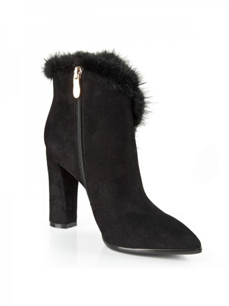 Women's Suede Closed Toe Chunky Heel With Rhinestone Booties/Ankle Black Boots