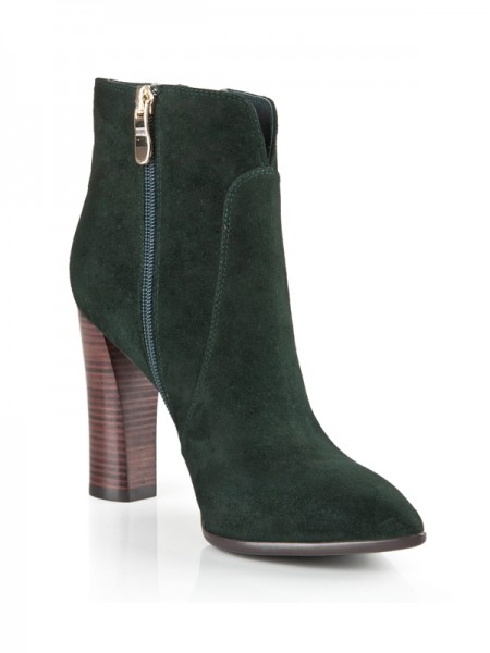 Women's Suede Closed Toe Chunky Heel With Zipper Booties/Ankle Hunter Green Boots