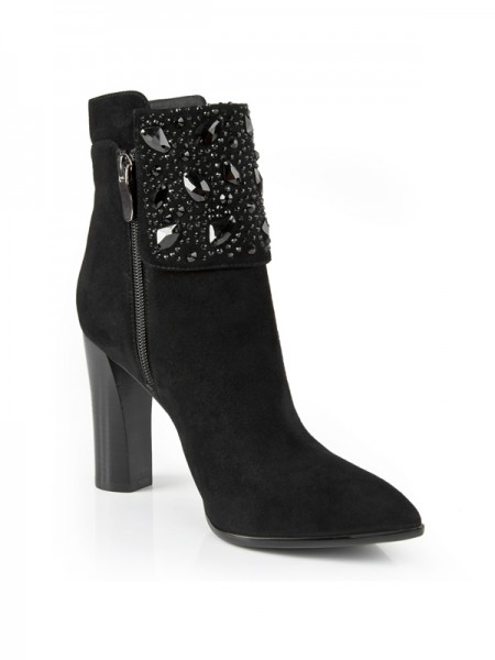 Women's Chunky Heel Suede Closed Toe With Rhinestone Booties/Ankle Black Boots