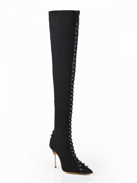 Women's Elastic Leather Stiletto Heel With Rhinestone Over The Knee Black Boots