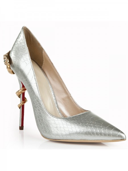 Women's Patent Leather Stiletto Heel Silver Closed Toe With Rhinestone High Heels
