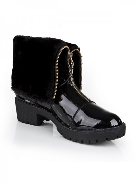 Women's Closed Toe Patent Leather Kitten Heel With Zipper Ankle Black Boots