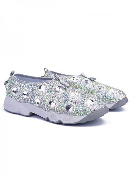 Women's Flat Heel Patent Leather Closed Toe With Rhinestone Silver Fashion Sneakers