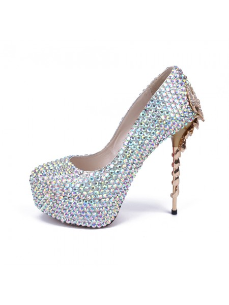 Women's Stiletto Heel Platform Closed Toe With Rhinestone Platforms Shoes