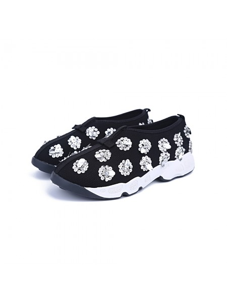 Women's Net Closed Toe Flat Heel Casual Black Fashion Sneakers
