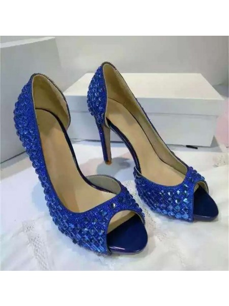 Women's Suede Platform Peep Toe Stiletto Heel With Rhinestone Sandals Shoes