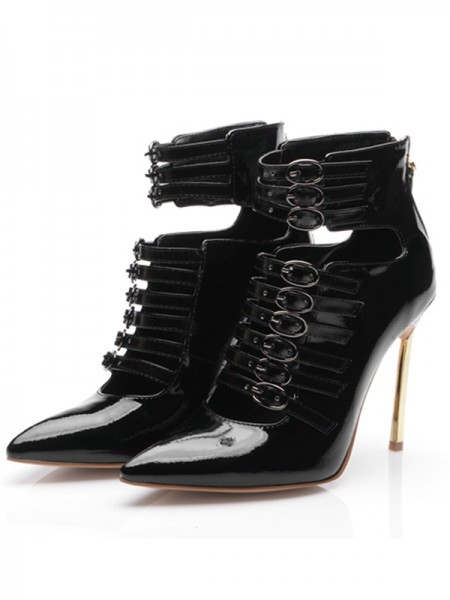 Women's Patent Leather Closed Toe Stiletto Heel With Buckle Ankle Black Boots