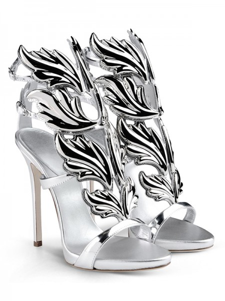 Women's Silver Patent Leather Peep Toe Stiletto Heel Sandals Shoes