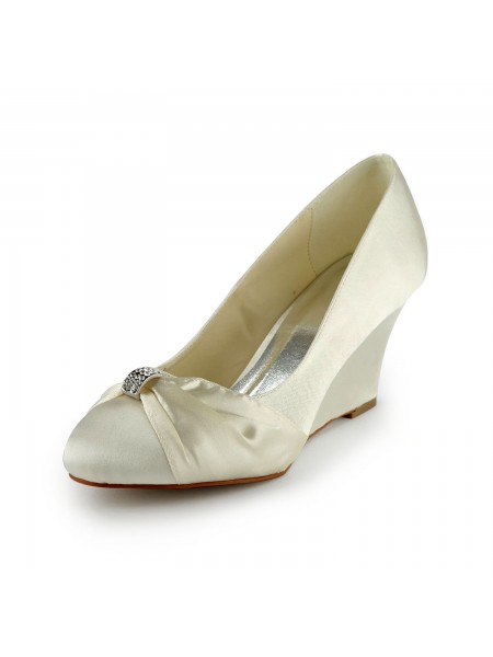 Women's Satin Wedge Heel Wedges With Rhinestone Ivory Wedding Shoes