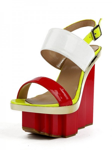 Women's Wedge Heel Patent Leather Peep Toe Platform Wedges Shoes