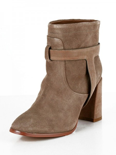 Women's Suede Chunky Heel Closed Toe Booties/Ankle Brown Boots