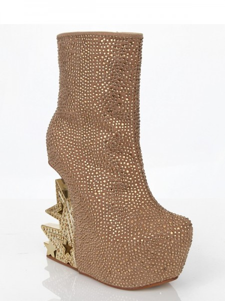 Women's Suede Wedge Heel With Rhinestone Platform Mid-Calf Gold Boots