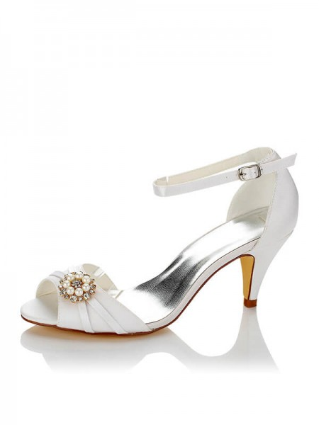 Women's PU Peep Toe Spool Heel Wedding Shoes