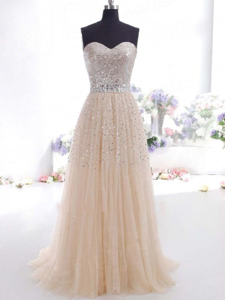 A-Line/Princess Sleeveless Sweetheart Floor-Length Tulle Dresses